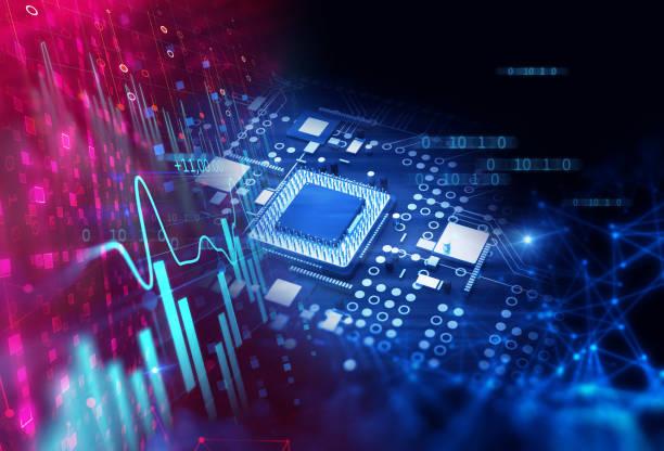 3d rendering  of futuristic blue circuit board stock photo