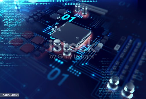 istock 3d rendering  of futuristic blue circuit board 540564368