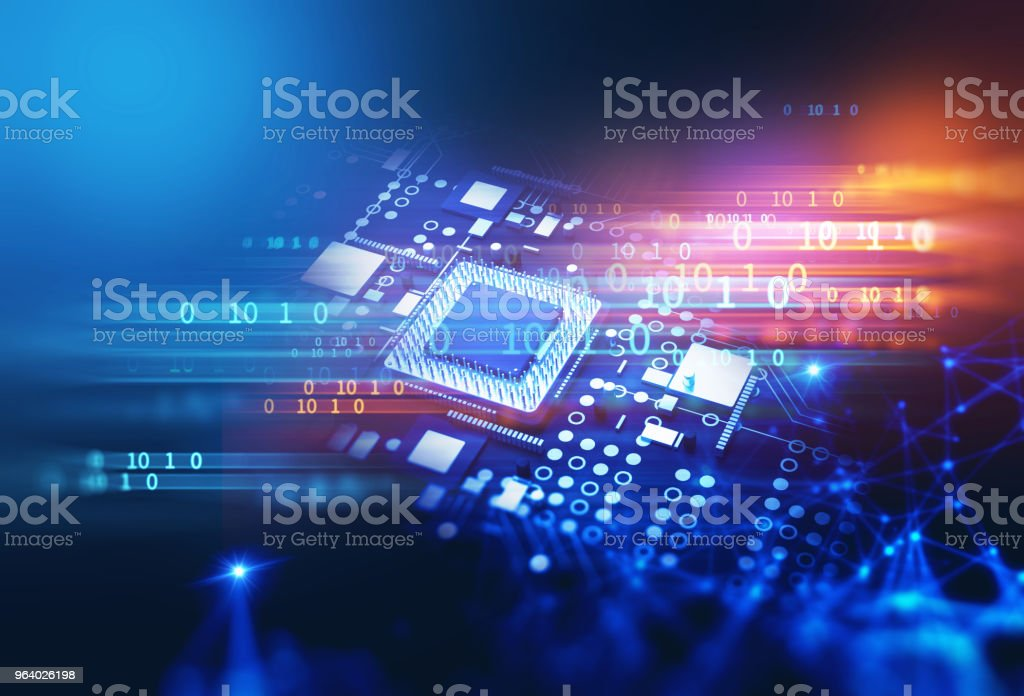 3d rendering  of futuristic blue circuit board - Royalty-free Abstract Stock Photo