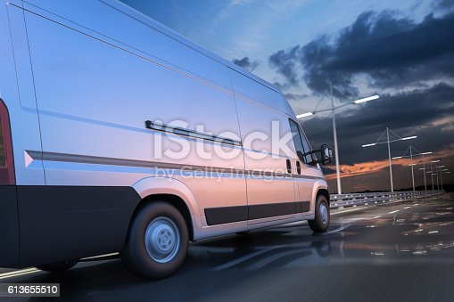 istock 3d rendering of generic van on the road at dawn 613655510