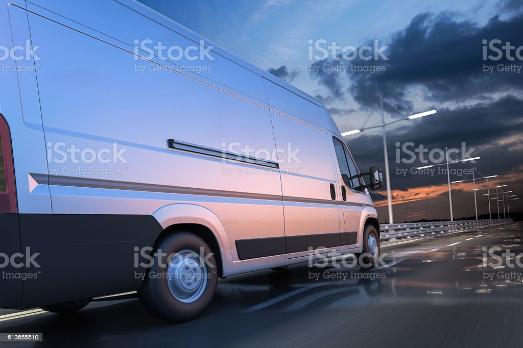 3d rendering of generic van on the road at dawn stock photo