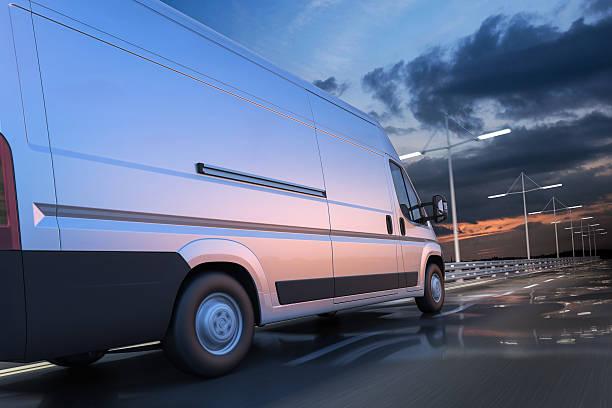 3d rendering of generic van on the road at dawn - transport truck tyres foto e immagini stock