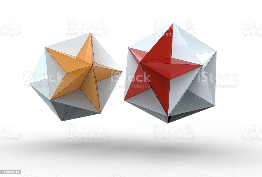3d rendering of great dodecahedron stock photo