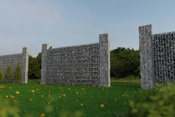 3d rendering of green garden with gabion wall and stone palisade - palisade boundary stock photos and pictures