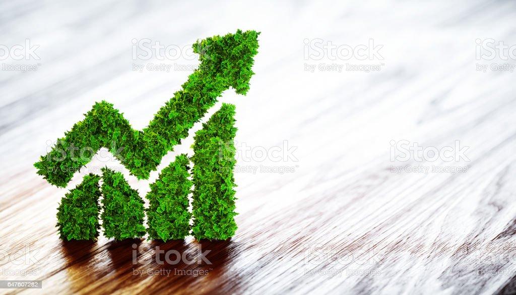representación 3D del gráfico de la línea verde con fondo borroso. - foto de stock