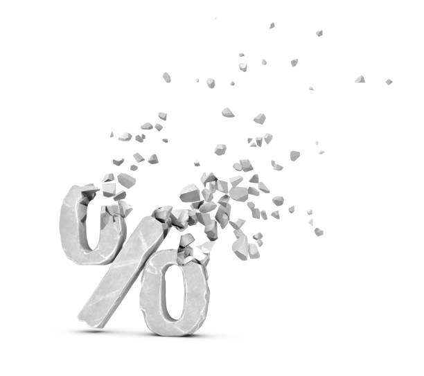 """3d rendering of grey percent """"%"""" sign shattering into small pieces isolated on white background"""