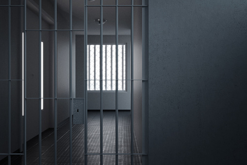 3d rendering of grunge prison wall next to the corridor with stanchions