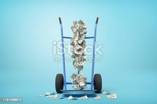 3d rendering of hand truck standing in half-turn with exclamation mark made up of dollar banknotes on it on light-blue background with copy space. Make money fast. Delivery business. Quick money.