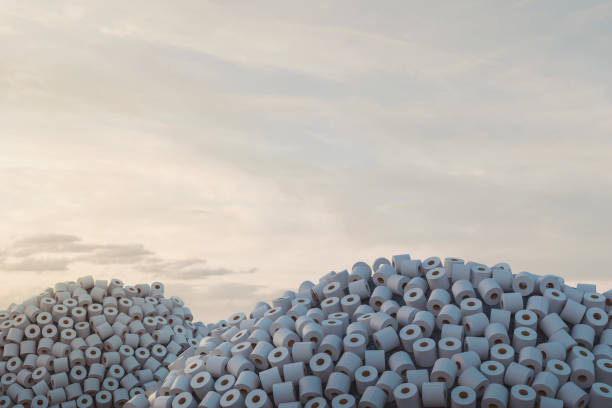 3d rendering of heaps with many toilet paper in the evening sunlight - carta igienica foto e immagini stock