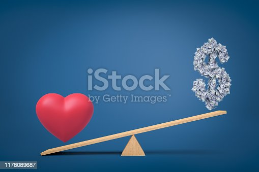 3d rendering of heart love symbol against money dollar symbol on seesaw on blue background. Concept art. Digital art. Life choices.