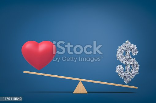 3d rendering of heart love symbol and money dollar symbol on seesaw on blue background. Concept art. Digital art. Life choices.