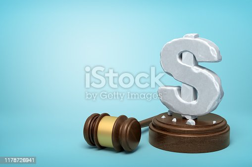 1024130248istockphoto 3d rendering of hefty stone dollar symbol standing on wooden sounding block with gavel beside on light-blue background with copy space. 1178726941