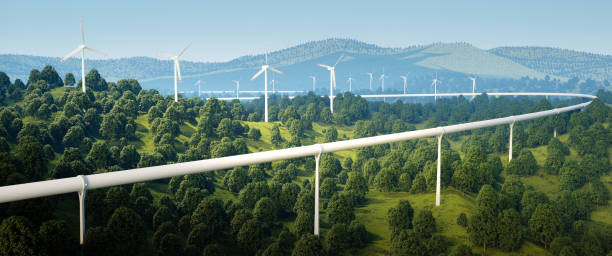 renderizado 3D de alta velocidad viajan turbinas de tecnología y el viento en el paisaje del bosque. - foto de stock