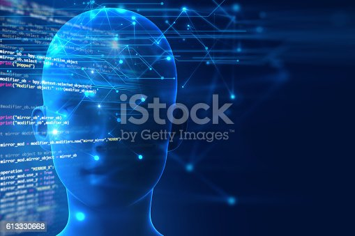 611992272 istock photo 3d rendering of human  brain on programming language background 613330668
