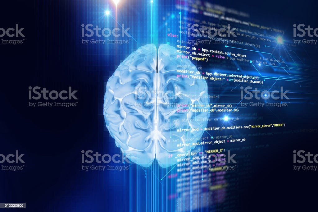 3d rendering of human  brain on programming language background stock photo