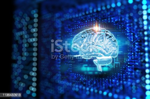 611992272 istock photo 3d rendering of human  brain on technology background 1135432613
