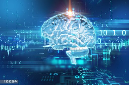 611992272 istock photo 3d rendering of human  brain on technology background 1135432674