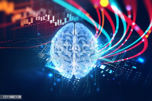 611992272 istock photo 3d rendering of human  brain on technology background 1211682128