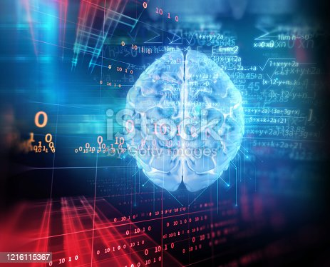 611992272 istock photo 3d rendering of human  brain on technology background 1216115367