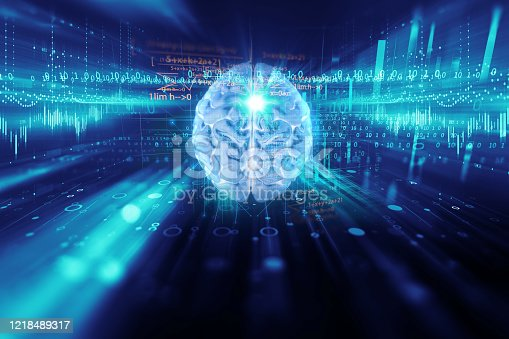611992272 istock photo 3d rendering of human  brain on technology background 1218489317