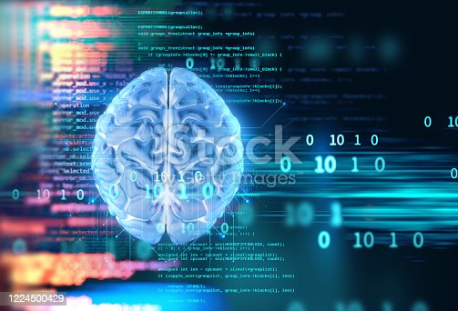 611992272 istock photo 3d rendering of human  brain on technology background 1224500429
