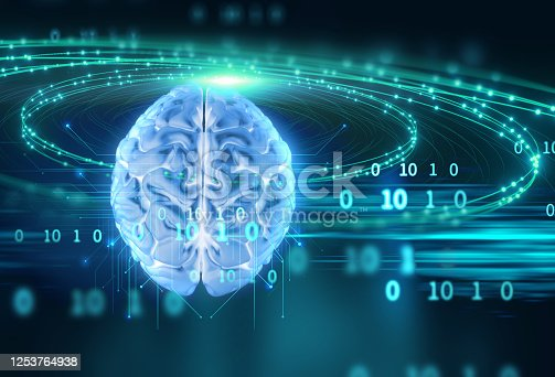 611992272 istock photo 3d rendering of human  brain on technology background 1253764938