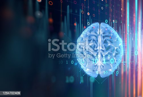 611992272 istock photo 3d rendering of human  brain on technology background 1254702409