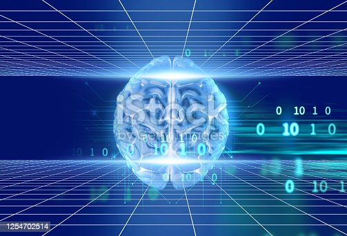 611992272 istock photo 3d rendering of human  brain on technology background 1254702514