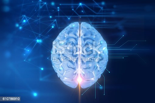 istock 3d rendering of human  brain on technology background 610786910