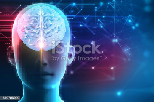 istock 3d rendering of human  brain on technology background 610786990