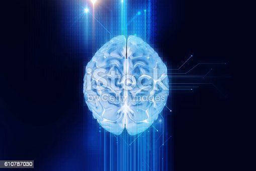 istock 3d rendering of human  brain on technology background 610787030