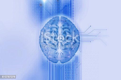 istock 3d rendering of human  brain on technology background 610787076