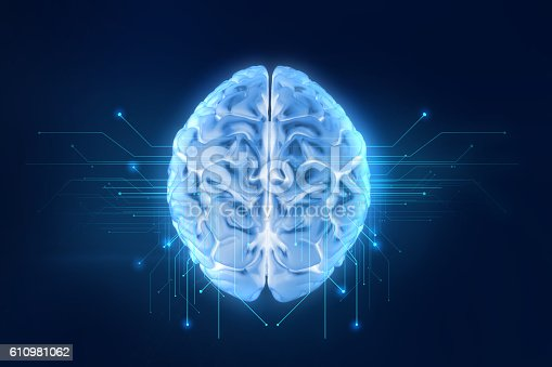 611992272 istock photo 3d rendering of human  brain on technology background 610981062
