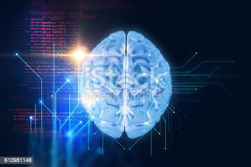 611992272 istock photo 3d rendering of human  brain on technology background 610981146