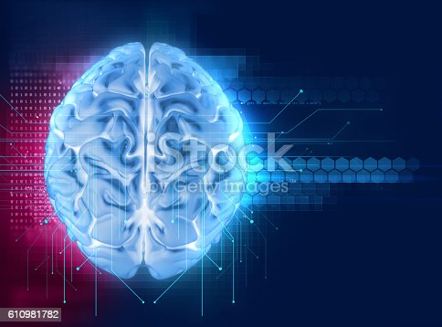 611992272 istock photo 3d rendering of human  brain on technology background 610981782