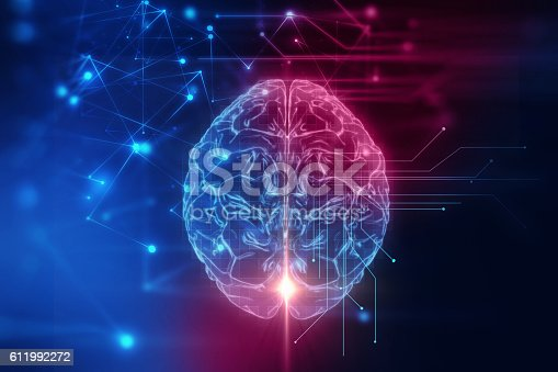 611992272 istock photo 3d rendering of human  brain on technology background 611992272