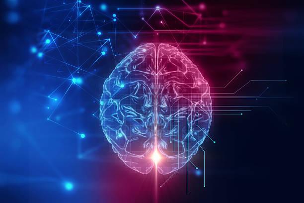 representación 3d del cerebro humano en el fondo de la tecnología - brain fotografías e imágenes de stock