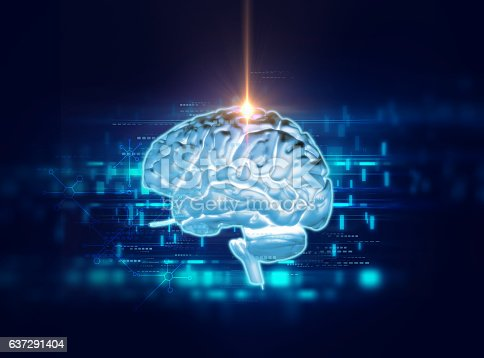 611992272 istock photo 3d rendering of human  brain on technology background 637291404