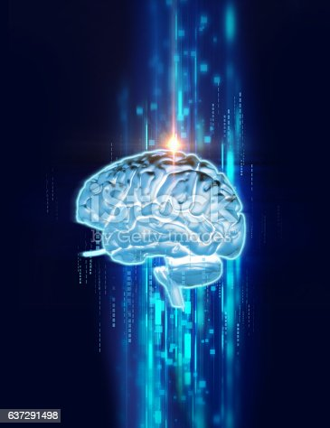 611992272 istock photo 3d rendering of human  brain on technology background 637291498