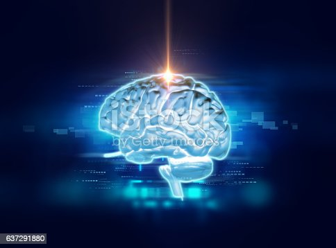 611992272 istock photo 3d rendering of human  brain on technology background 637291880