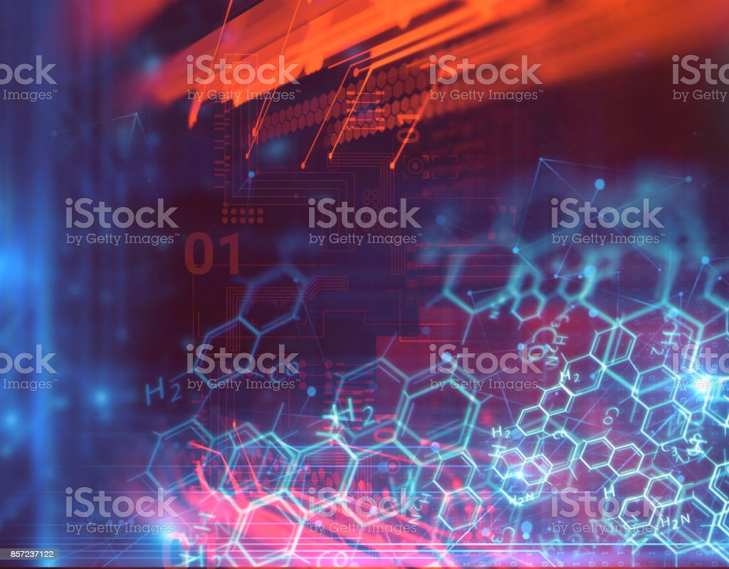 3d rendering of human  brain on technology background stock photo