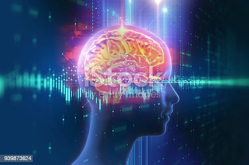 istock 3d rendering of human  brain on technology background 939873624