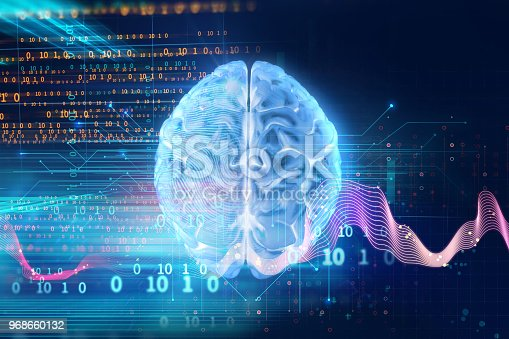 611992272 istock photo 3d rendering of human  brain on technology background 968660132