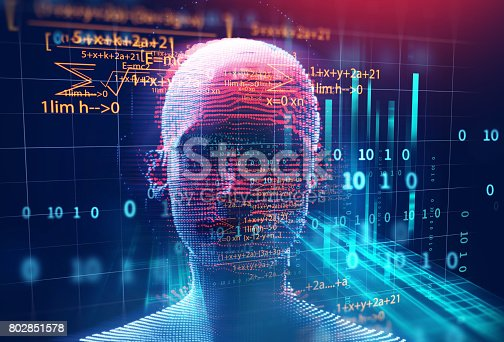 istock 3d rendering of human  on geometric element technology background 802851578