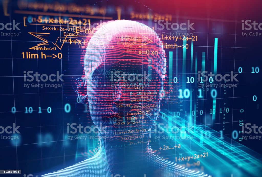 3d rendering of human  on geometric element technology background stock photo