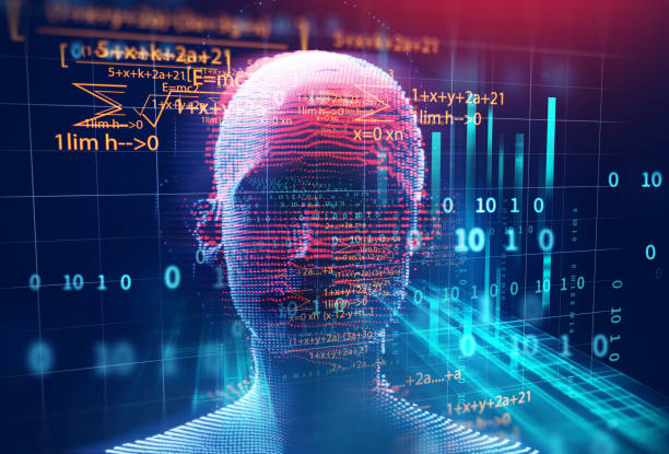 3D-Rendering Menschen auf geometrische Element Technologie Hintergrund – Foto