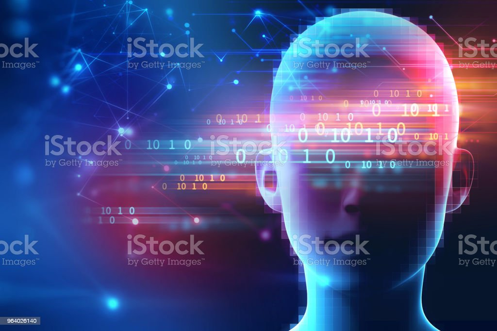 3d rendering of human  on geometric element technology background - Royalty-free Abstract Stock Photo