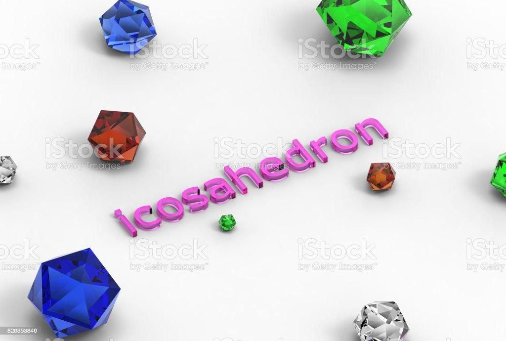 3d rendering of icosahedron stock photo