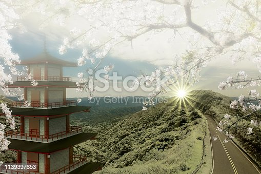 istock 3d rendering of imaging temple with the road along the mountain 1139397653