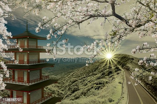 istock 3d rendering of imaging temple with the road along the mountain 1139397701